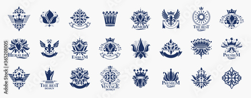 Cuadros en Lienzo De Lis and crowns vintage heraldic emblems vector big set, antique heraldry symbolic badges and awards collection with lily flower symbol, classic style design elements, family emblems
