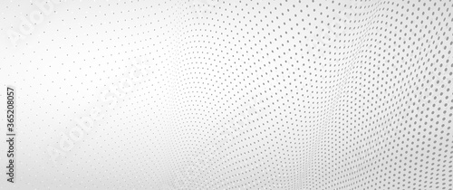 3D abstract monochrome background with dots pattern vector design, technology theme, dimensional dotted flow in perspective, big data, nanotechnology Wallpaper Mural