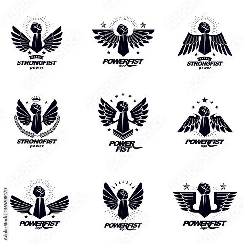 Set of vector symbols created with clenched fist of athletic man, eagle wings, pentagonal stars and different graphic elements Canvas-taulu