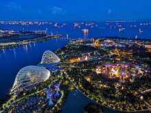 High Angle View Of Gardens By The Bay In City At Night
