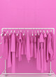 canvas print picture - Hanger with pink women's clothing against the background of a pink wall. Monotonous pink clothes. Creative conceptual illustration with copy space. 3D rendering.