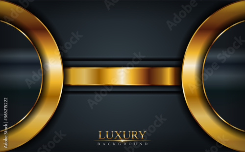 Foto Dark luxury background combine with elegant golden lines composition