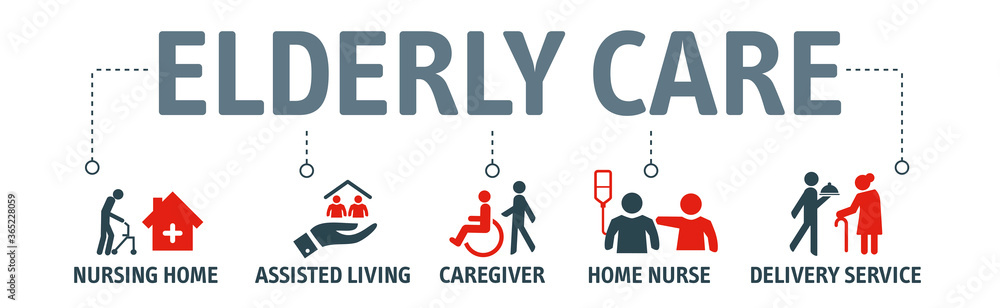 Fototapeta Elderly care vector illustration concept with icons