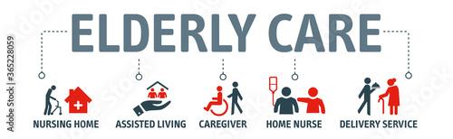 Fototapeta Elderly care vector illustration concept with icons obraz