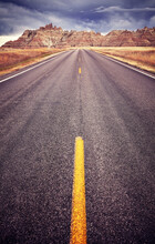 Asphalt Road In Badlands Natio...