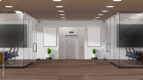 Obraz 3D rendering modern meeting room and elevator and glass doors - fototapety do salonu