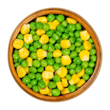 Green Peas And Corn In Wooden ...