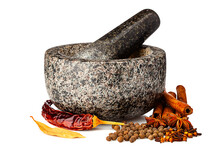 Granite Mortar Ans Spices Isol...