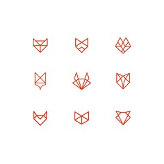 set of geometric line animal fox cat dog illustration icon outline vector collection