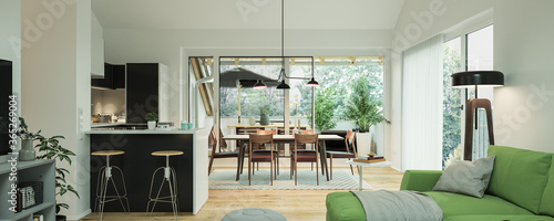 view inside modern luxury attic loft apartment with kitchen and sofa - 3d rendering © Christian Hillebrand