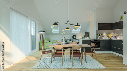 Obraz view inside modern luxury attic loft apartment with kitchen and sofa - 3d rendering - fototapety do salonu