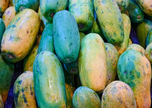 Pile Of Papayas For Sales In A Market