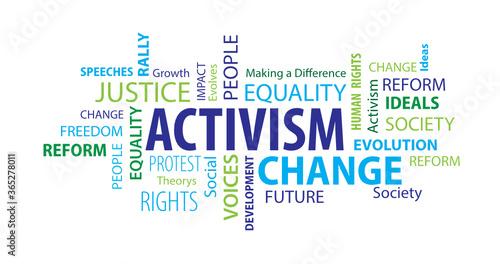 Fotografía Activism Word Cloud on a White Background