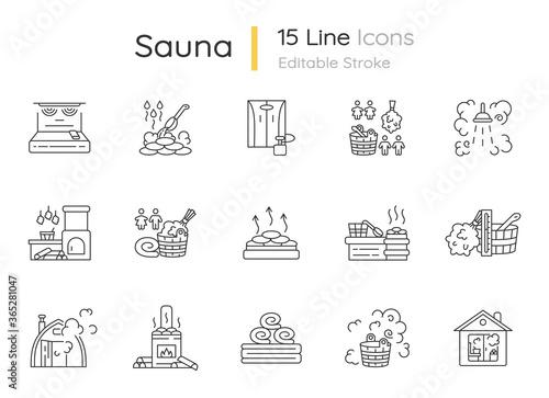 Fotografía Sauna pixel perfect linear icons set