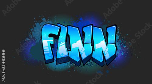 Fotografie, Obraz Finn Graffiti Name Design
