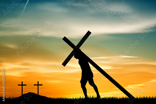 illustration of Jesus carrying the cross Canvas Print