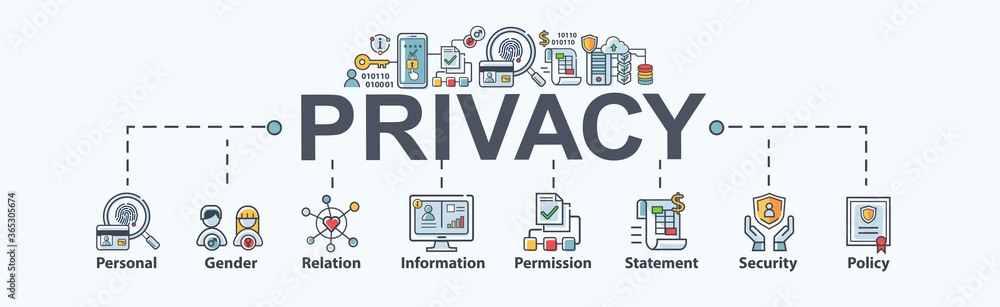 Fototapeta Privacy banner web icon for personal and data protection, gender, relation, information, permission, statement, policy, safety and cyber security. Minimal vector infographic.