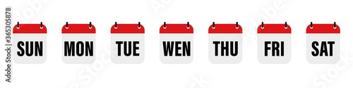 Obraz Calender , days of the week. Set every day a week . Vector icon. Flat, red and white calendar, icon set for the week. - fototapety do salonu