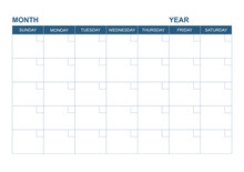 Blank Calendar Template With Blank Copy Space For Date ,Month And Space For Your Note