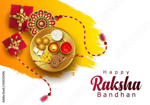 Cuadros en Lienzo Happy Raksha Bandhan with stylish vector illustration in a creative background
