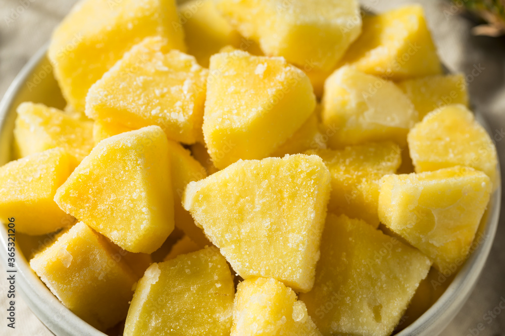 Fototapeta Yellow Organic Frozen Pineapple