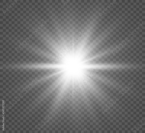 Fototapeta White beautiful light explodes with a transparent explosion. Vector, bright illustration for perfect effect with sparkles. Bright Star. Transparent shine of the gloss gradient, bright flash. obraz na płótnie