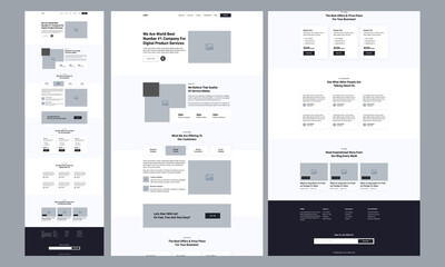 One page website design template for landing page wireframe. Modern responsive design. website: home, about us, pricing table, blog, testimonials, footer.