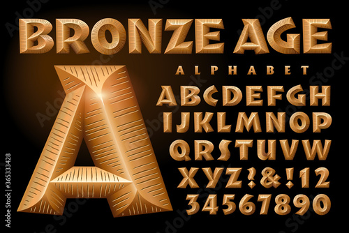 Bronze Age is a Bold Alphabet with Beveled 3d Metallic Effects and a Scratched M Canvas Print