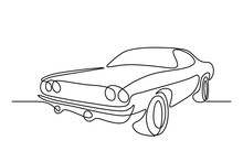 Retro Car In Continuous Line Art Drawing Style. Vintage Automobile Minimalist Black Linear Sketch Isolated On White Background. Vector Illustration