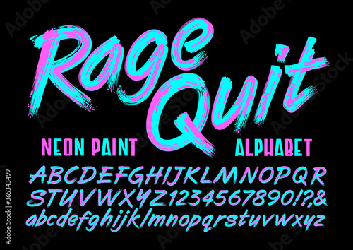 A Brightly Colored Painted Script Alphabet in Neon Magenta and Teal Hues. This Font Has an Edgy Vibe that is Reminiscent of 1980s Graphics.