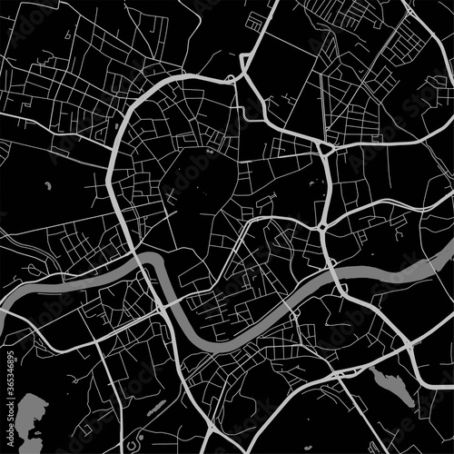 Cuadros en Lienzo Urban city map of Krakow. Vector poster. Grayscale street map.