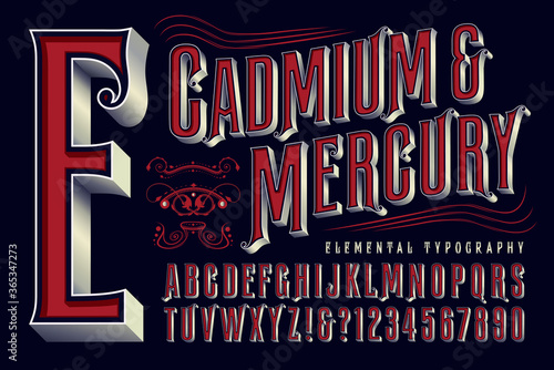 Stampa su Tela Cadmium & Mercury is an Elegant Ornate Condensed Alphabet with an Old World, Old