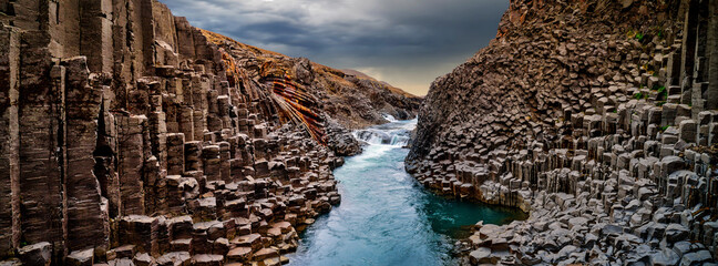 Breathtaking view of Studlagil basalt canyon, Iceland, Europe.