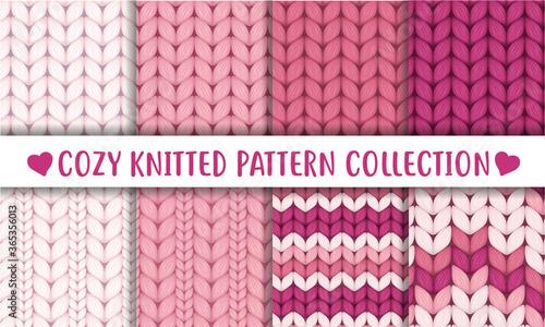 Obraz na plátně Baby pink  knitted cozy pattern collection