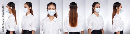 Foto Asian Woman portrait rear side back view turn 360 protective face mask