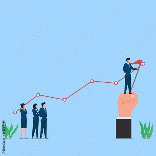 Photo Man stand on edge of chart with flag metaphor of success and profit