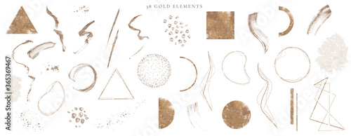 Abstract Arrangements. Elements, textures. Posters. Terracotta, blush, pink, ivory, beige watercolor Illustration and gold elements, on white background. Modern print set. Wall art. Business card. - fototapety na wymiar