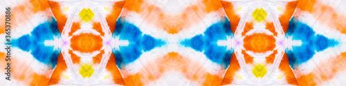 Fototapeta Repeated Geometric Pattern. Tie Dye Shibori Pattern. Geometric Seamless Tie Dye Boho Texture. Saturated Aztec Rug Tie Dye Wash. Endless Banner. Multicolor Ornamental Ikat Pattern. obraz