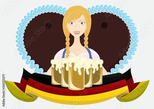 Canvas-taulu bavarian girl with beer mugs