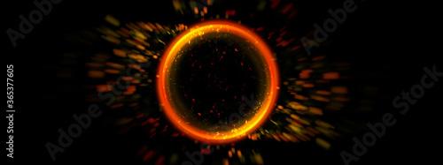 暗闇を照らす炎の球体の3Dイラスト Canvas-taulu