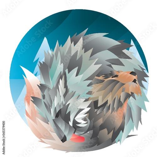 Valokuva she-wolf and puppy
