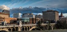 Spokane, Washington, Usa, 04/06/2019, Skyline Behind Monroe Bridge