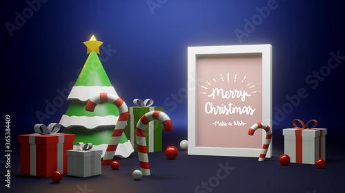 Fototapeta 3D render Christmas festive display. obraz