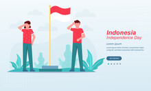 Happy Indonesia Independence Day, 17 August 1945, Celebrations With Playing Traditional Game, Cracker Eating, Sack Races, Spoon Race, Tug Of War, Suitable For Web Landing Page, Social Media Post, Ui,
