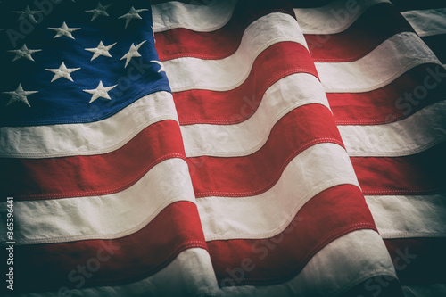 USA flag, US of America sign symbol background, closeup view Canvas Print
