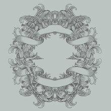 Vintage Heraldry With Floral O...