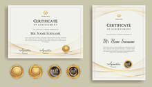 Blue And Gold Diploma Certificate With Line Art And Badges A4 Template. For Award, Business, And Education