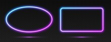 Neon Gradient Frames Set, Collection Of Blue-pink Glowing Borders Isolated On A Dark Background. Colorful Night Banners, Vector Light Effect. Ellipse And Rectangle, Bright Illuminated Shapes.