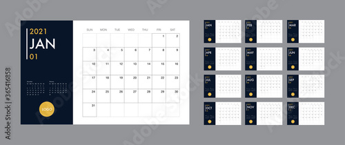 Obraz Calendar 2021 template planner vector diary in a minimalist style - fototapety do salonu
