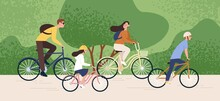Active Family Riding On Bike A...